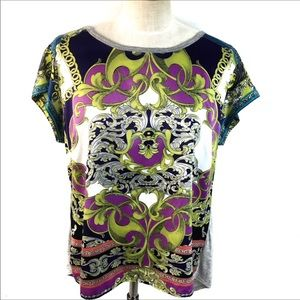 A.N.A. SATIN FRONT PAISLEY MULTICOLOR TOP SIZE XL